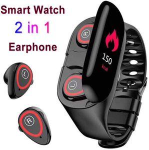2 in 1 android Smart Wristbands Bluetooth Earphone waterproof smartwatch Heart Rate sport bracelet with headphone reloj inteligente
