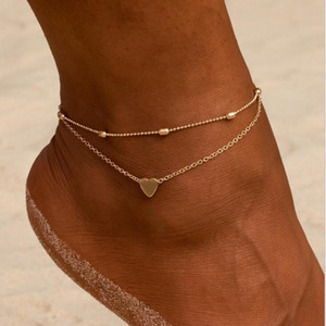 20pcs Hot sell European and American fashion Beach Women Anklets, Simple Heart, Crochet Sandals Feet Jewelry, Two Layer Anklet