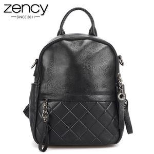 Zency 100% cuir véritable vintage femmes sac à dos élégant noir quotidien vacances sac à dos sacs de voyage décontracté fille cartable Y19052202
