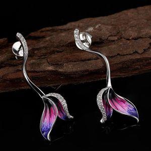 Frauen Fairy Tail Mermaid Diamantohrring 925 Sterling Silber Ohrstecker Edlen Schmuck Luxus Designer Ohrringe