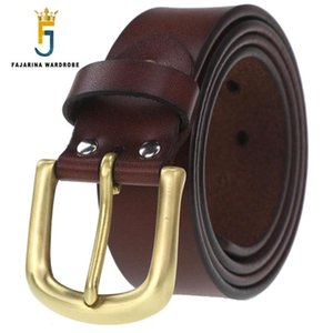 FAJARINA Nice Grade Quality Cow Skin Leather Mens Brass Clasp Buckle Cowhide Accessories Men's Fashion Belts for Men N17FJ529