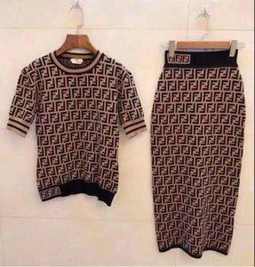 Tasarımcı Kadınlar Elbise Lüks Bayan Gömlek + Etek Suit Marka Kızlar Midi Etekler Suit Seksi Party Club Slim Fit Elbise Yaz Elbise 2020669K