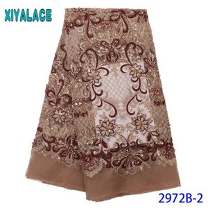 Hot Sale beaded lace fabric,Latest sequence lace fabric,Luxury net fabric 2020 dresses for Nigerian party KS2972B-2