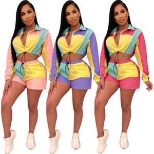 2019 Европа и Соединенные Штаты женщин Tracksuits моды Модный стиль Цвет Блок панелями случайный спортивный костюм из двух частей костюм