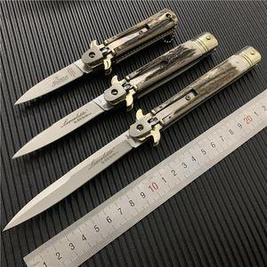 Yeni İtalyan Mafya Otomatik Bıçak Solingen Boynuz Sap Katlanır Blade Taktik Bıçak Kamp Taktik Swinguard 9 İNÇ Pocket Knife
