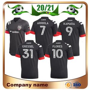 2020 Player versión DC United Soccer Jersey 20/21 MLS Home Negro # 9 KAMARA Camisetas de fútbol # 7 ARRIOLA # 10 FLORES # 31GRESSEL Uniforme de fútbol