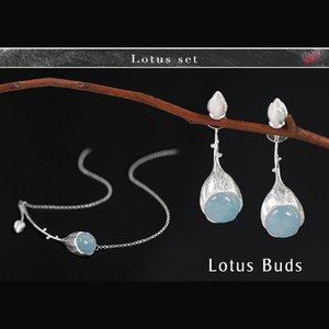 Lotus Fun Echt 925 Sterling Silber Kreative Handgemachte Edlen Schmuck Elegante Lotus Knospen Schmuck Set