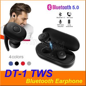 DT-1 TWS Mini Fone de ouvido Bluetooth V5.0 verdadeira sem fio Earbuds fone de ouvido Esporte fone de ouvido à prova d'água estéreo com microfone carregamento Box 4 cores