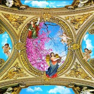 Fotoğraf Duvar Kağıdı Salon Yatak odası KTV Tavan Resimleri Wallpaper Avrupa melek klasik yağlı boya tavan