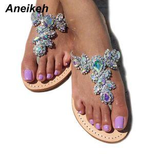 Aneikeh 2018 Mulher Sandals Shoes strass Chains Thong Gladiador Plano sandálias de cristal Chaussure Plus Size