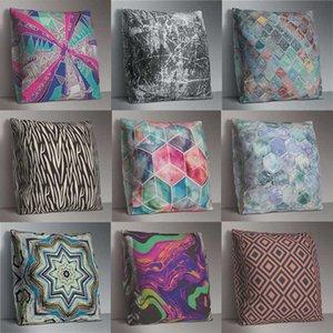 Rainbow geométrica Impreso almohada caja cuadrada cubierta 45cm * 45cm cubiertas de poliéster almohada Home Almohada decorativa