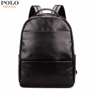 Fashion Preppy Style Unisex School Backpack For Teenage Solid Black Men Leather Backpack Travel Bag Men Bag