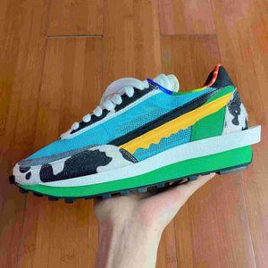 2020 Nueva LD galleta multi azul del alba malla superior de la moda para hombre de las zapatillas de deporte de las mujeres Formadores Breathe deportes de los zapatos corrientes de nylon verde blanca