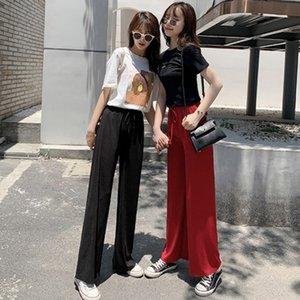 Cintura alta de cintura sueltas pantalones de pierna ancha de seda de hielo verano suave comodidad pantalones hembra 2020 casual moda sólido pantalones largos señora