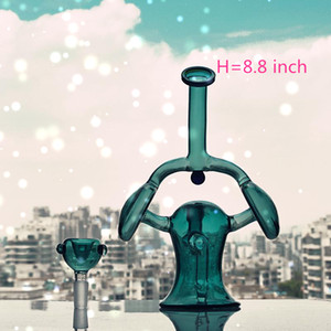 8.8 inch Heady Bongs Mini Water pipe Thick oil rigs wax smoking hookah Bowl bubbler honeycomb pipes with quartz bowl