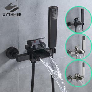 Uythner bagno maniglia rubinetto della vasca singola cascata becco Miscelatore con doccetta con montaggio a parete vasca da bagno rubinetto vasca da bagno