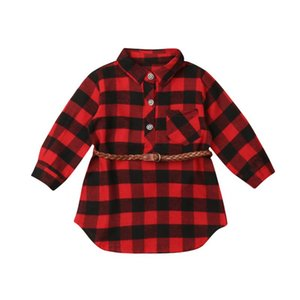 pudcoco Newborn Kids Baby Girls red casual Plaid Blouses & Shirts baby girl new style girl top plaid shirt dress vestidos