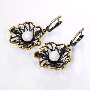 Earrings DreamCarnival 1989 Lotus Flower Earrings Hollow Created Pearl CZ Black Gold Color Hip Hop Pendientes tipo gota Parties