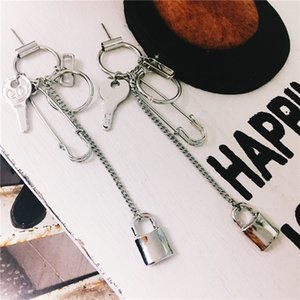 S925 silver needle European and American fashion personalized pin geometric key Earrings South Korea Street Photo concave shape exaggerated