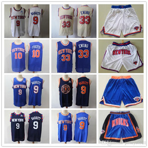 Mens New YorkKnicksJersey Jersey Patrick 33 Ewing Walt 10 Frazier R.J. 9 Shorts de Barrett Basketball Maillots de basketball