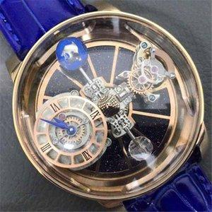 2020 de lujo transparente diseñador del reloj para hombre Relojes hombre de 40 mm Movimiento de cuarzo de pulsera azul real correa de cuero Montre De Luxe