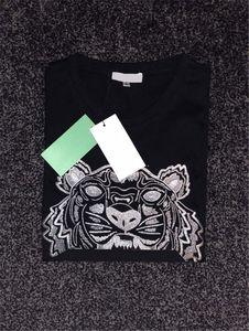 Mend T Shirt Hot Summer Estilo Tiger bordado com letras Tees manga curta Camisas Casual Tops Asiático Tamanho S-XXL