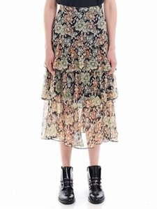 100% Silk Women Floral Midi Skirt Ruffles Layered Gold Line Shiny Lady Long Skirts for Summer