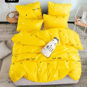 T-ALL bedding set Pure cotton Pure color A B double-sided pattern Cartoon Simplicity Bed sheet quilt cover pillowcase 4-7pcs T200706