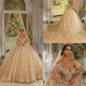 Arabic Ball Gown Wedding Dresses Luxury Appliqued Crystal Feather Beaded Sequins Ruffle Sweep Train Bridal Gowns Sexy V-neck Abiti Da Sposa