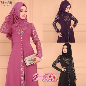 Plus Size 5XL Dubai a maniche lunghe vestito le donne musulmane a due pezzi falso abiti da festa etnica islamica Costume Abaya Abbigliamento taglie Grande