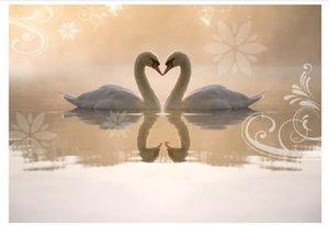 Toptan Satış - Toptan-Özel 3d ipek fotoğraf duvar kağıdı Kalpler ve Swan Lake Salon TV Sofa Arkaplan Duvar Ev Dekorasyon Duvar Etiketler