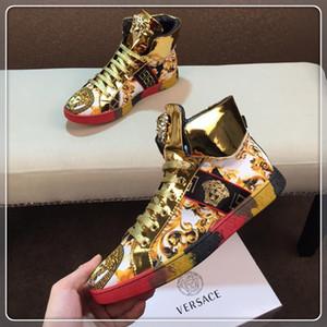 2019EI primavera y otoño hombres s zapatos ocasionales de los deportes de alta zapatillas de deporte superiores desplazamiento de la cinta, con micro-estándar, con la caja original entrega rápida