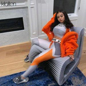 KLALIEN impresión de personalización exclusiva polainas deporte de alto elástica aptitud top + pant 2020 chándal de 2 piezas diferentes estilos