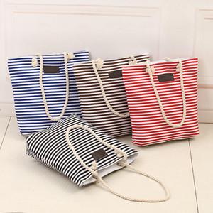 4 estilos Totes de lona de la raya de las mujeres bolsas de la compra de viaje bolsos de señora bolso de hombro bolso de playa FFA1896