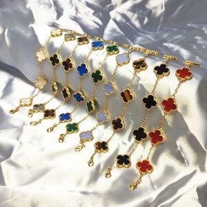 Joyería modelos de pulsera japonés y coreano Trébol de cinco Cinco Flor Salvaje moda temperamento femenino regalo de boda color oro pulsera diosa