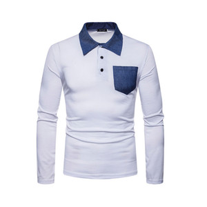 Botón nuevo diseño para hombre de largo camisetas de la manga del cuello del cuadrado remiendo ocasional del bolsillo de cuello solapa Slim Fit Camiseta