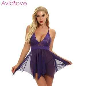 Avidlove Sleep Dress Sexy Lingerie Hot Erotic Knot With Babydoll Strap G String Lingerie Mesh Sleep Spaghetti Nightwear Women