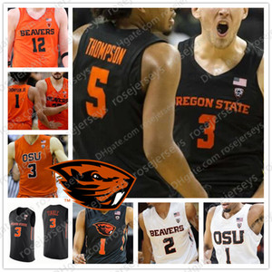 Benutzerdefinierte Oregon State Beavers Basketball schwarz orange weiß beliebiger Name Nummer 3 Tres Tinkle 20 Gary Stephen Thompson Payton Scott Howard Jersey