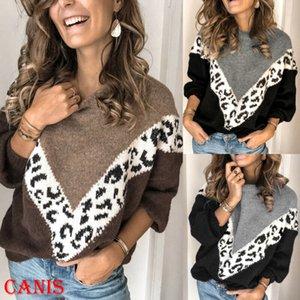 femminile maglioni invernali caldo Leopard Patchwork O-collo maglione Ladies manica lunga in maglia maglioni pullover Top Femminili Jumper