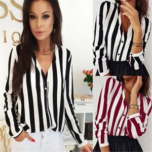 Las mujeres de moda de ropa de manga larga con cuello en V de verano de rayas camisas sport del botón casual blusas de poliéster una junta las piezas