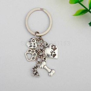 Yeni Stil Antik Gümüş Köpek Kemik Köpek Paw Kalp Charm 5 Kolye Anahtarlık Erkekler Kadınlar için Kız Çanta Anahtarlık Köpek Lover Takı Aceessories Hediye