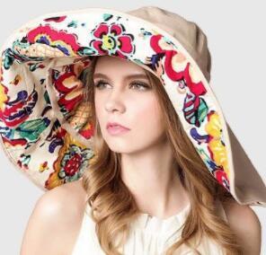 Women Floppy Sun Hat Summer Wide Brim Beach Cap flower print Packable Cotton Hat for Travel NN