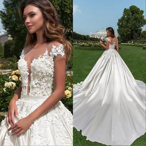 Neue Flügelärmeln 2019 Country Garden Wedding Dresses Eine Linie Sheer Neck Lace Appliques Perlen Knöpfe Zurück Brautkleider
