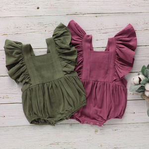 kids clothes girls boys Solid romper newborn infant Ruffle Sleeve Jumpsuits Square Collar summer baby Climbing clothes C834