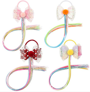 Baby Pink Princess fashion bow wig Girls Headband Glittery Bow Pink Curly Hair Wig Hair Accessories