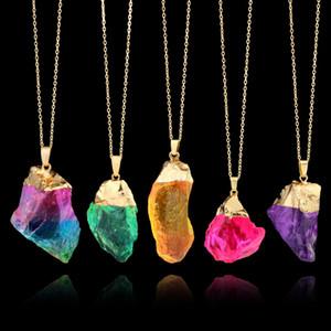 Нерегулярные Кристалл кварцевые ожерелья Для женщин исцеление Druzy драгоценный камень Радуга натуральный камень кулон золотые цепи ювелирные изделия подарок