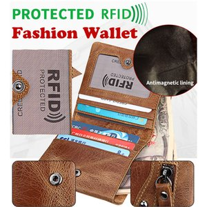 Vera Pelle Vintage Uomini risvolto del raccoglitore di affari RFID Blocking Holder Zipper Borse Multi-Card banconote Tasche brevi bovina Sacchetti