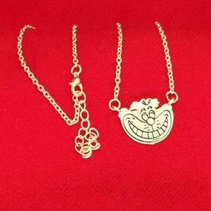 kadınlar çocuk moda takı Noel hediyesi kolye için Alice In Wonderland Cheshire kedisi kolye Altın gülümseme yüz kolye