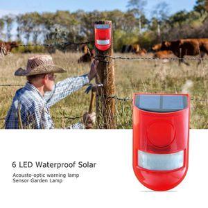 Étanche alarme solaire alarme lumière sécurité sirène lumière 6 voyants alarme avertissement sécurité anti-vol clignotant capteur lumière lampe de jardin