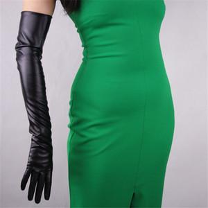 Guanti in pelle 60 centimetri di lunghezza superiore di pelle lungo corso Elbow PU Faux emulazione di pecora Black Touch Gloves Female WPU07-60